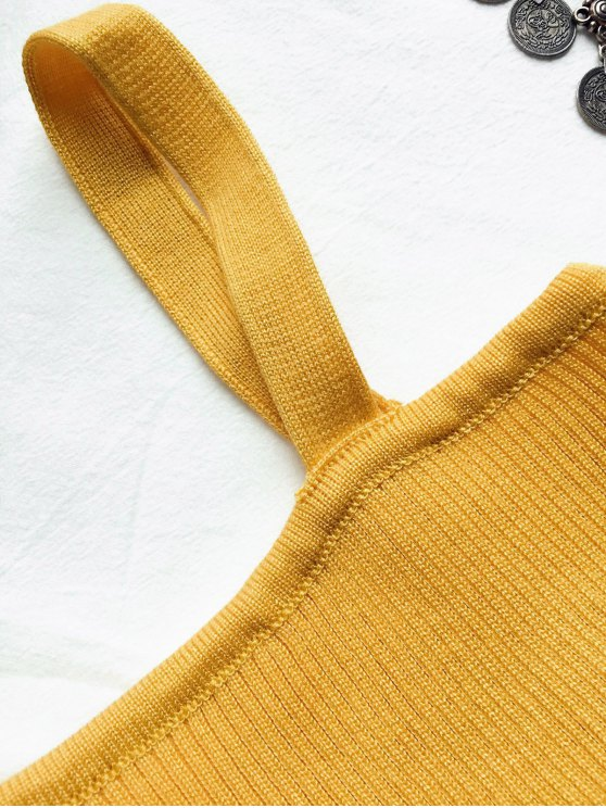 Front Twist Ribbed Tank Knitwear - GINGER ONE SIZE Mobile