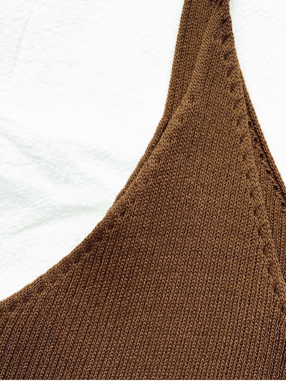 Spaghetti Strap Ribbed Knitted Top - BROWN ONE SIZE Mobile