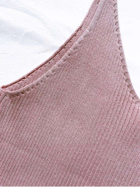 Spaghetti Strap Ribbed Knitted Top - PALE PINKISH GREY ONE SIZE Mobile