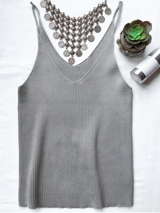 Spaghetti Strap Ribbed Knitted Top - SMOKY GRAY ONE SIZE Mobile