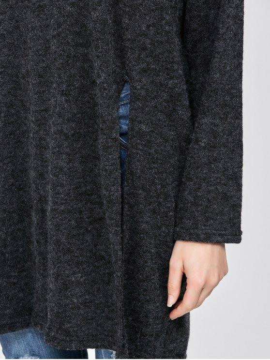 High Slit Hooded T-Shirt - BLACK ONE SIZE Mobile