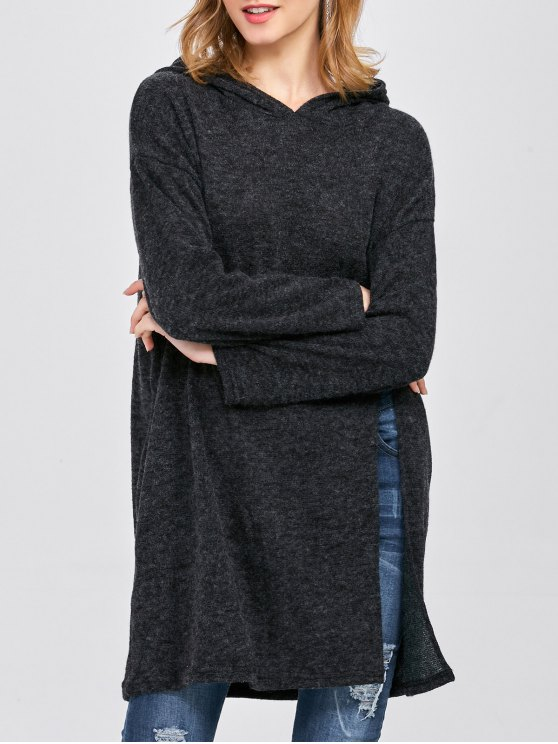 High Slit Hooded T-Shirt - BLACK ONE SIZE Mobile