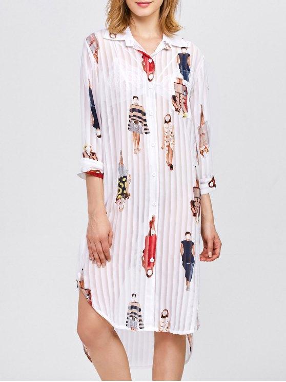 Cartoon Print Pleated Shirt Dress - WHITE ONE SIZE Mobile