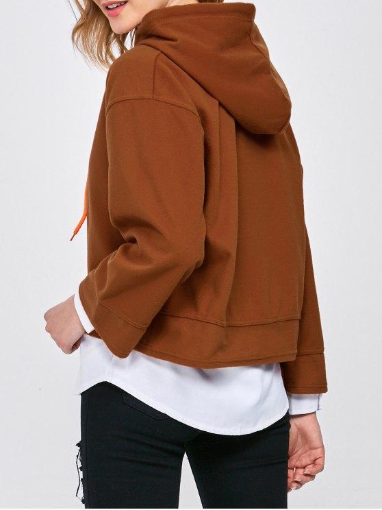 Drop Shoulder Loose Hoodie - BROWN L Mobile