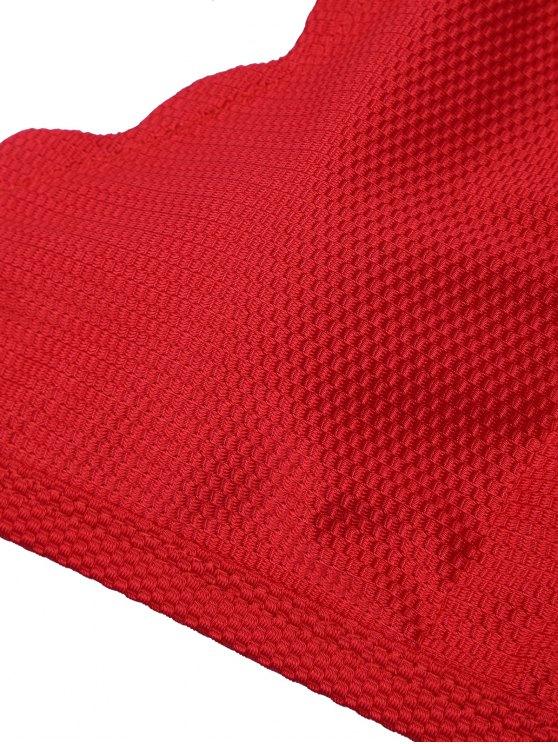 Halter Scalloped High Neck Bikini Set - DEEP RED L Mobile