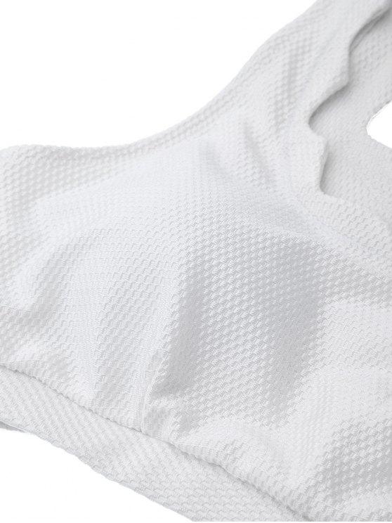 Scalloped U Neck High Waist Bikini Set - WHITE L Mobile