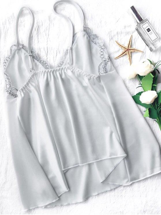 Lace Satin Babydoll Slip Dress - WHITE M Mobile
