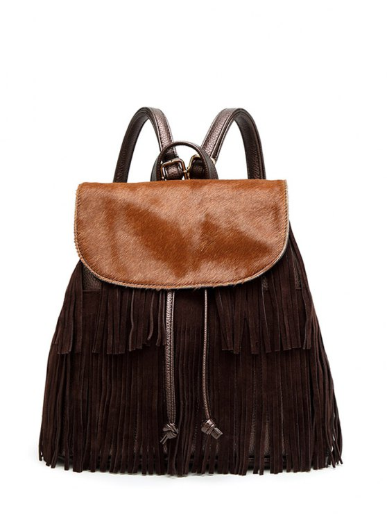 Fringe Faux Horsehair Panel Backpack - BROWN  Mobile
