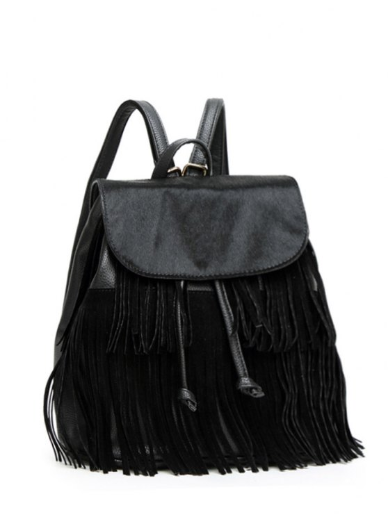 Fringe Faux Horsehair Panel Backpack - BLACK  Mobile