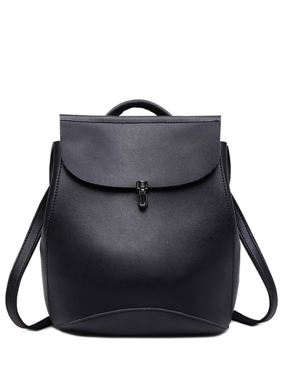outfits Flapped PU Leather Backpack - BLACK