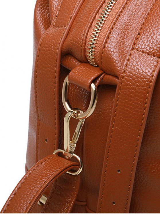 Buckle Straps Faux Leather Handbag - BROWN  Mobile