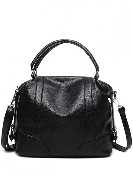 Buckle Straps Faux Leather Handbag - BLACK  Mobile