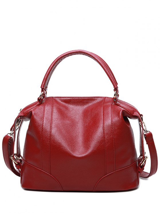 Buckle Straps Faux Leather Handbag - RED  Mobile