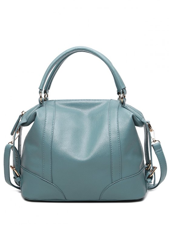 Buckle Straps Faux Leather Handbag - BLUE  Mobile