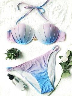 Ombre Color Shell Mermaid Bikini - Blue + Purple L