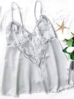 Lace Satin Babydoll Slip Dress - White S
