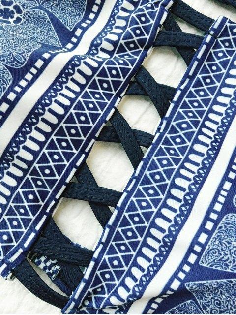 best Crisscross High Neck Bikini - PURPLISH BLUE S Mobile