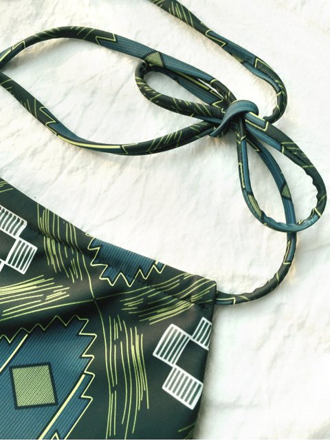 outfit Tile Print High Neck Bikini - OLIVE GREEN M Mobile