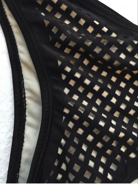 lady Square Laser Cut Bikini Top and Bottoms - BLACK L Mobile