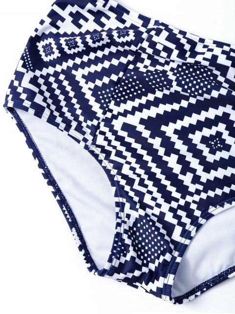 fashion Geo High Waisted Underwired Bikini - BLUE AND WHITE M Mobile