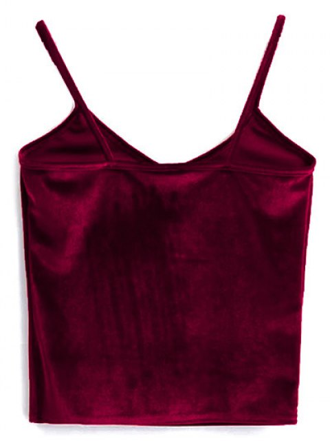 womens Velvet Cropped Cami Top - RED ONE SIZE Mobile