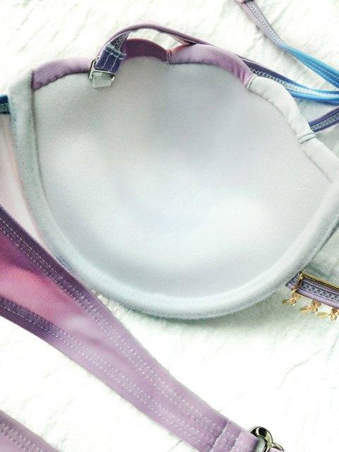 fancy Ombre Color Shell Mermaid Bikini - BLUE + PURPLE L Mobile