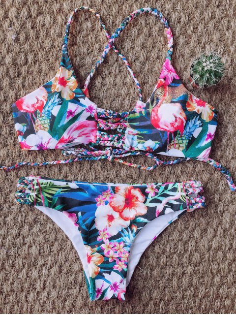 best Floral Print Braided Strappy Bikini - FLORAL M Mobile