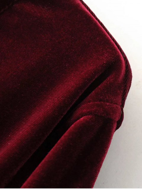 best Split Neck Velvet Tunic Dress - BURGUNDY M Mobile