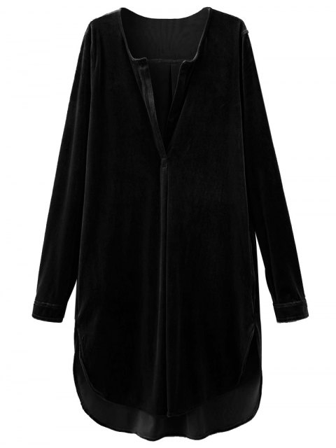 new Split Neck Velvet Tunic Dress - BLACK L Mobile