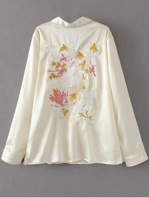 lady Satin Embroidered Pajama Shirt - OFF-WHITE S Mobile