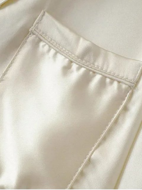 online Satin Embroidered Pajama Shirt - BURGUNDY M Mobile