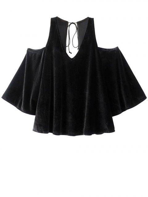 shop Billowy Cold Shoulder Velvet Blouse - BLACK L Mobile