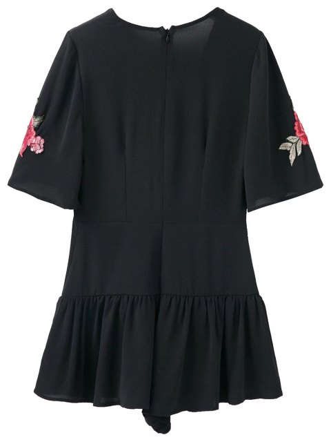 buy Embroidered Patches Ruffle Romper - BLACK L Mobile