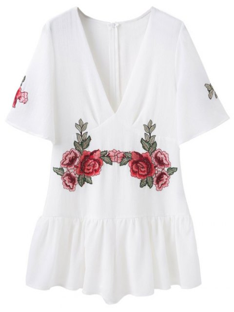 women's Embroidered Patches Ruffle Romper - WHITE L Mobile