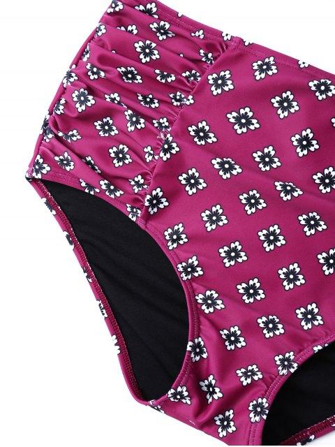 ladies Ruffles High Waisted Underwired Bikini - PURPLE M Mobile