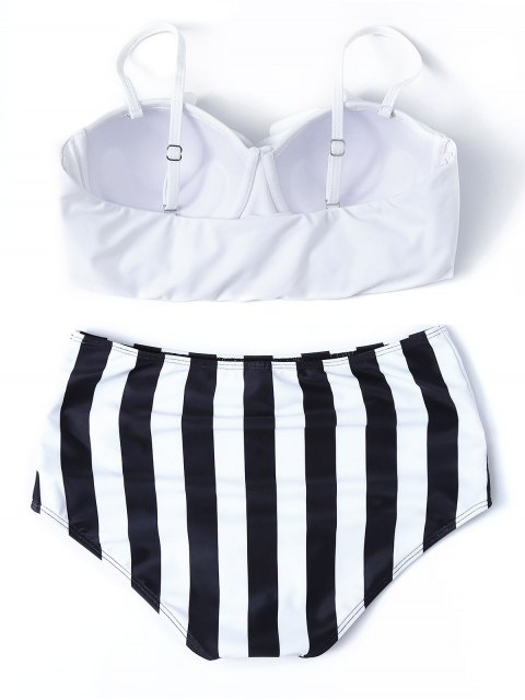 shops Striped High Waisted Underwired Bikini - WHITE M Mobile