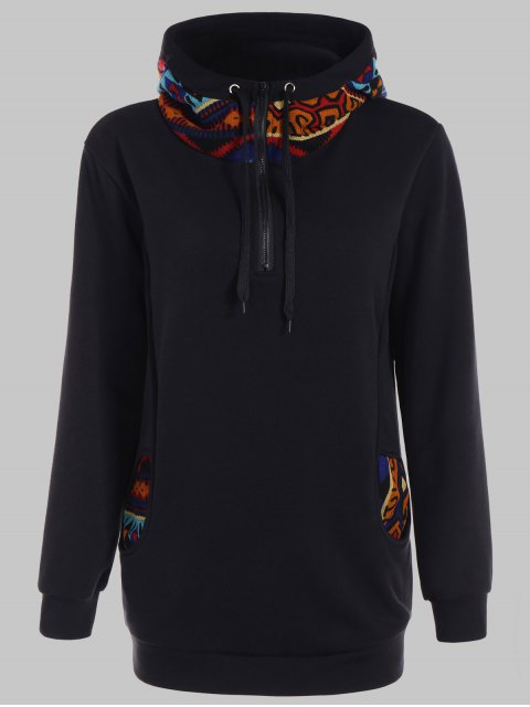 lady Half Zip Print Panel Hoodie - BLACK S Mobile