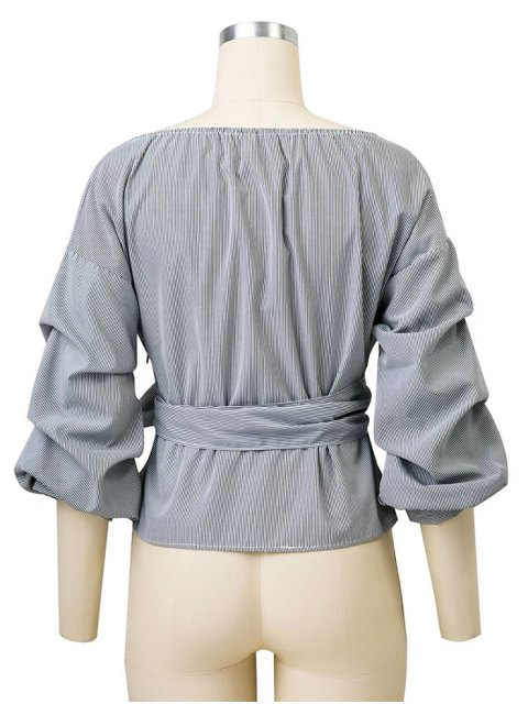 best Bowknot Striped Surplice Blouse - STRIPE M Mobile