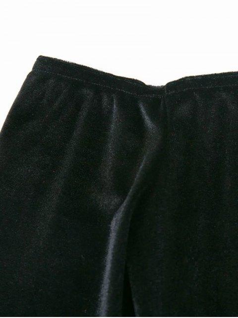 women's Off The Shoulder Long Sleeve Velvet Dress - LAKE GREEN L Mobile