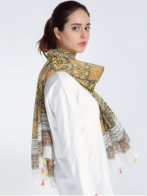 outfits Bohemia Print Voile Scarf with Tassel Edge - LIGHT BROWN  Mobile