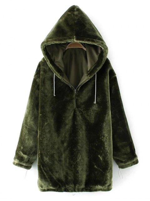 new Half Zip Velvet Drawstring Hoodie - BLACKISH GREEN L Mobile