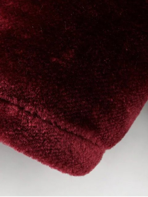 outfits Half Zip Velvet Drawstring Hoodie - BURGUNDY L Mobile