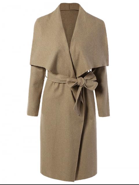 latest Tie Waist Shawl Collar Wrap Coat - CAMEL XL Mobile