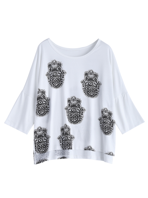shop High Low Printed Loose T-Shirt - WHITE XL Mobile