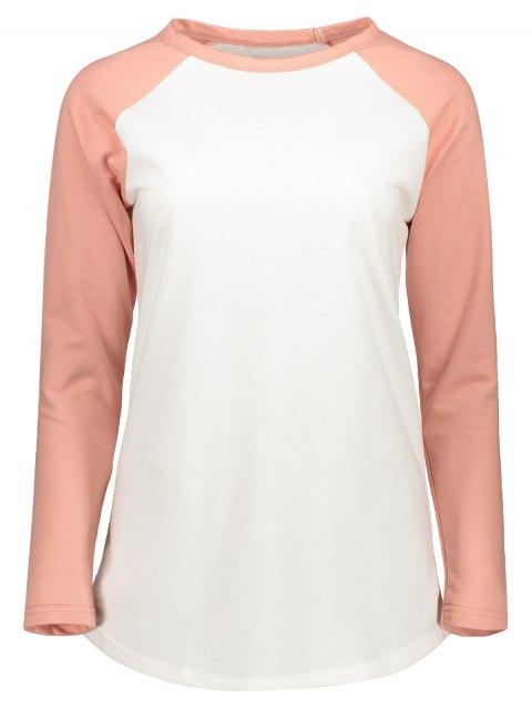 affordable Color Block Raglan Sleeve Baseball T-Shirt - WHITE XS Mobile