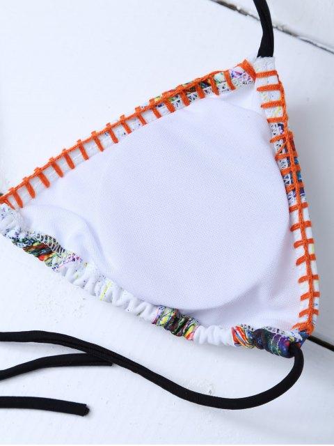 shop Printed Tassels Bikini Set - WHITE M Mobile