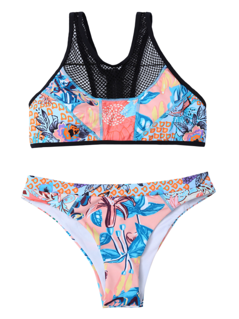 latest Printed Mesh Panel Bikini Set - BLUE L Mobile