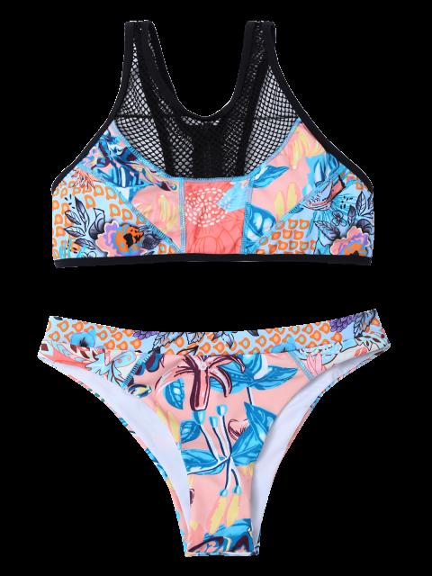 trendy Printed Mesh Panel Bikini Set - BLUE M Mobile