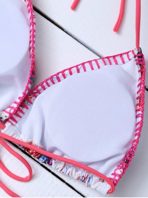 shop Printed Tassels Bikini Set - RED XL Mobile