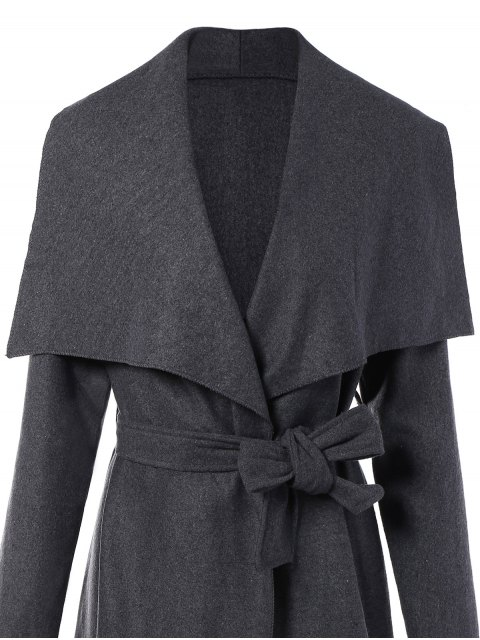 womens Tie Waist Shawl Collar Wrap Coat - GRAY XL Mobile